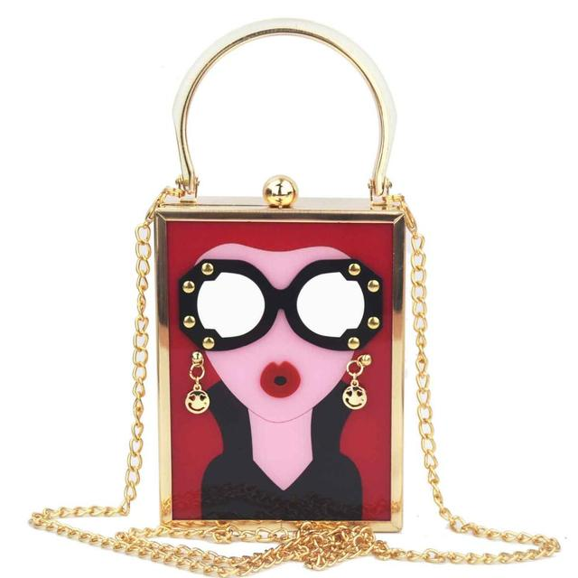 Brand Luxury White Acrylic Evening Bag Women Funny Cute HandBags Glasses Girls Chain Day Clutch Vintage Red Mini Party Purse 4