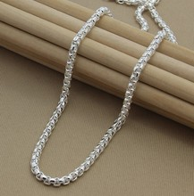 mens necklaces chains collar Free Shipping 925 Sterling Silver Necklace Fine Fashion 4mm Jewelry Chains Pendant