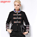 Short Jacket Autumn Winter 2015 Fashion Daily New Women's Elegant 9 Point Sleeve Plus Size Bohemia Embroidery Jacket