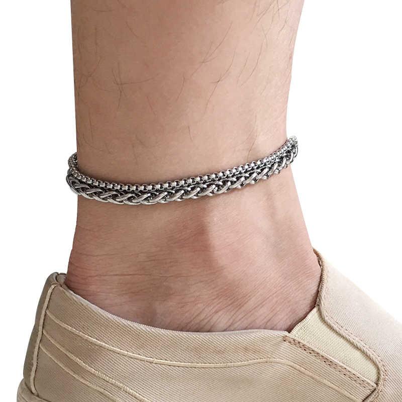 Ze stali nierdzewnej obrączki dla kobiet plaża stóp biżuteria nogi łańcuch kostki bransoletki mężczyzn lub kobiety wakacje akcesoria 2019 nowy
