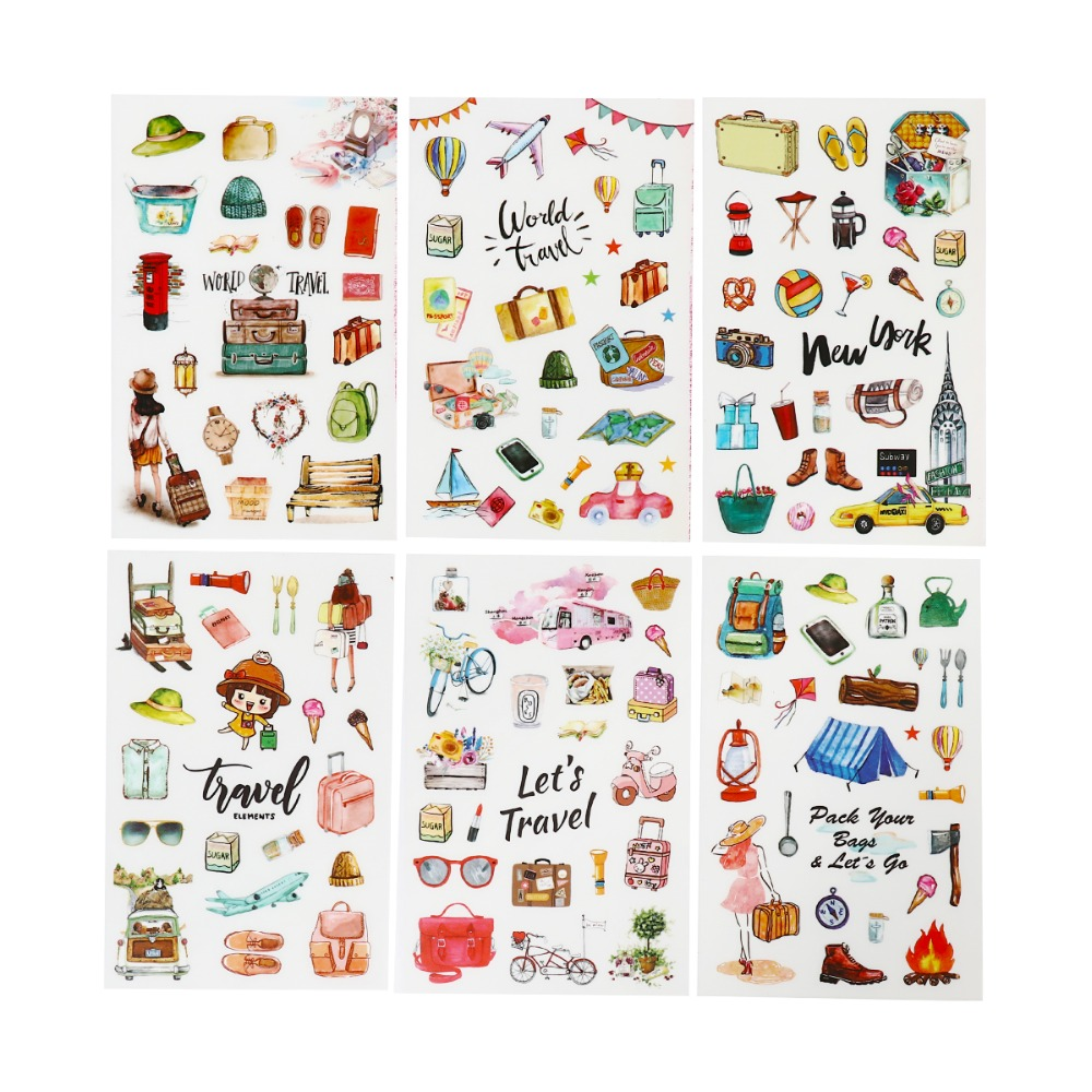 6Pcs/Bag Stationery Sticker Cute Label Diary Handmade DIY Adhesive Plastic Diary Flake Book Stickers For Stationery Decoration