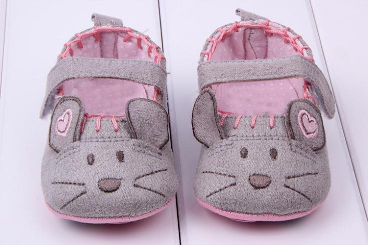 Cute Baby Girls First walkers Cotton Grey Cartoon Mouse Soft with Pattern Shading Soft Sole Baby Toldder Prewalkers Shoe 3 size 2