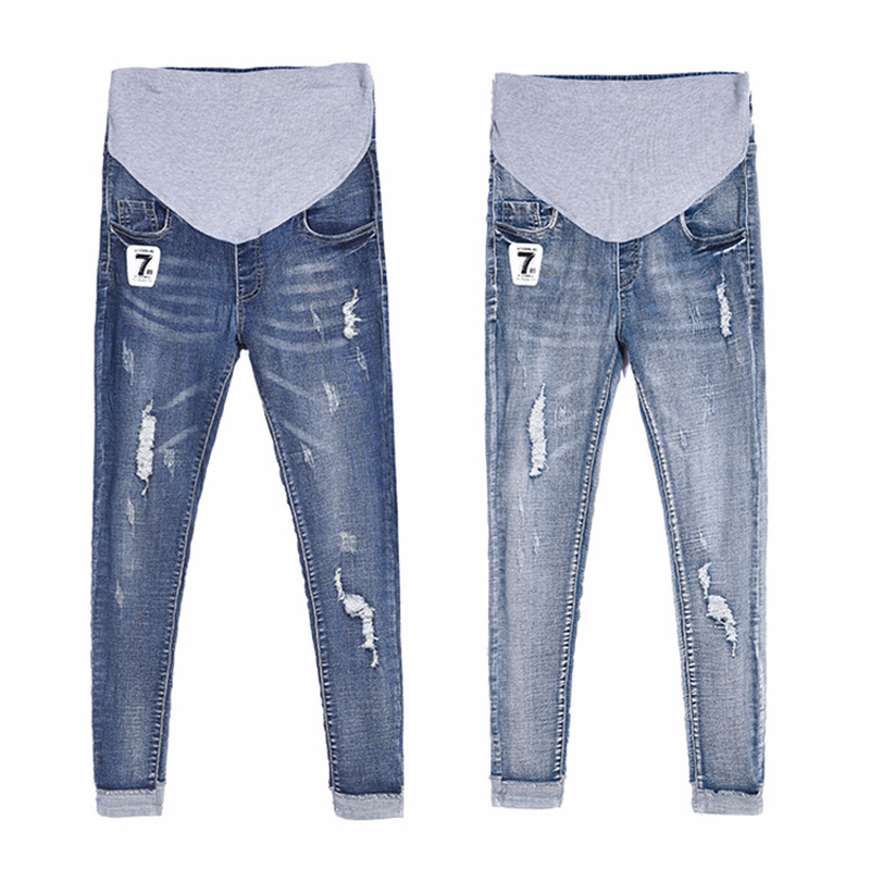 2018 New Summer Maternity Jeans Fashion Elastic Waist Ripped Jeans Skinny Pants for Pregnant Women Pregnancy Clothes vintage women jeans calca feminina 2017 fashion new denim jeans tie dye washed loose zipper fly women jeans wide leg pants woman