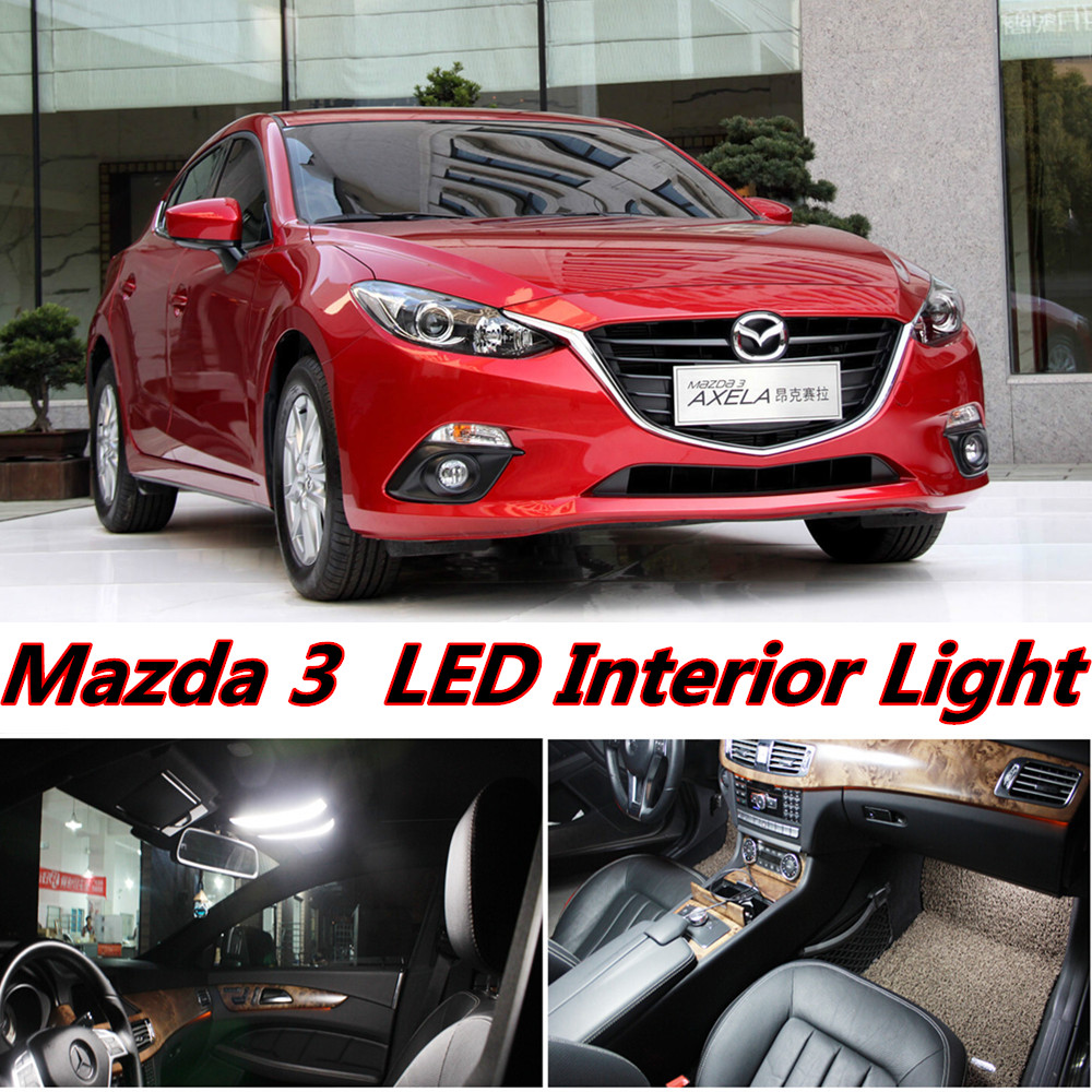 7pcs X free shipping Error Free LED Interior Light Kit Package for Mazda 3 accessories 2014-2016 free shipping new arrival 35pcs pack 2m pcs led aluminum profile for led strips with milky or transparent cover and accessories
