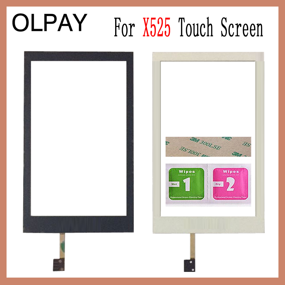 OLPAY For Philips Xenium X525 Touch Screen Digitizer Front Glass Panel Sensor Black Color Free Adhesive+Wipes