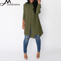 AVODOVAMA M Summer Fashion Casual Summer Solid Chiffon Blouses Women Long Sleeve Turn Down Collar Button