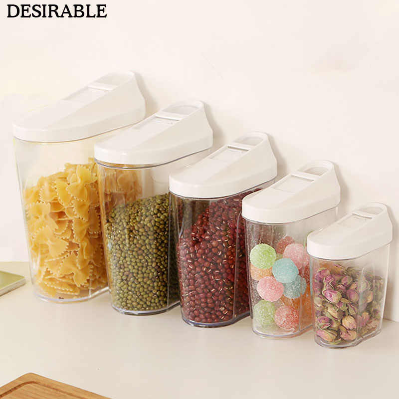 5 piece Food grade Plastic Sealed Cans Kitchen Snacks and cereals Storage bottle Transparent Food Canister Keep Fresh Jar a set
