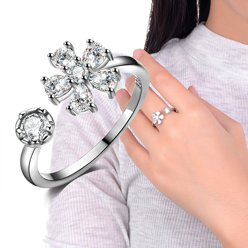 1PC Women s Girl Opening Vintage Retro Silver Plated font b Luxury b font Chrysanthemum Ring