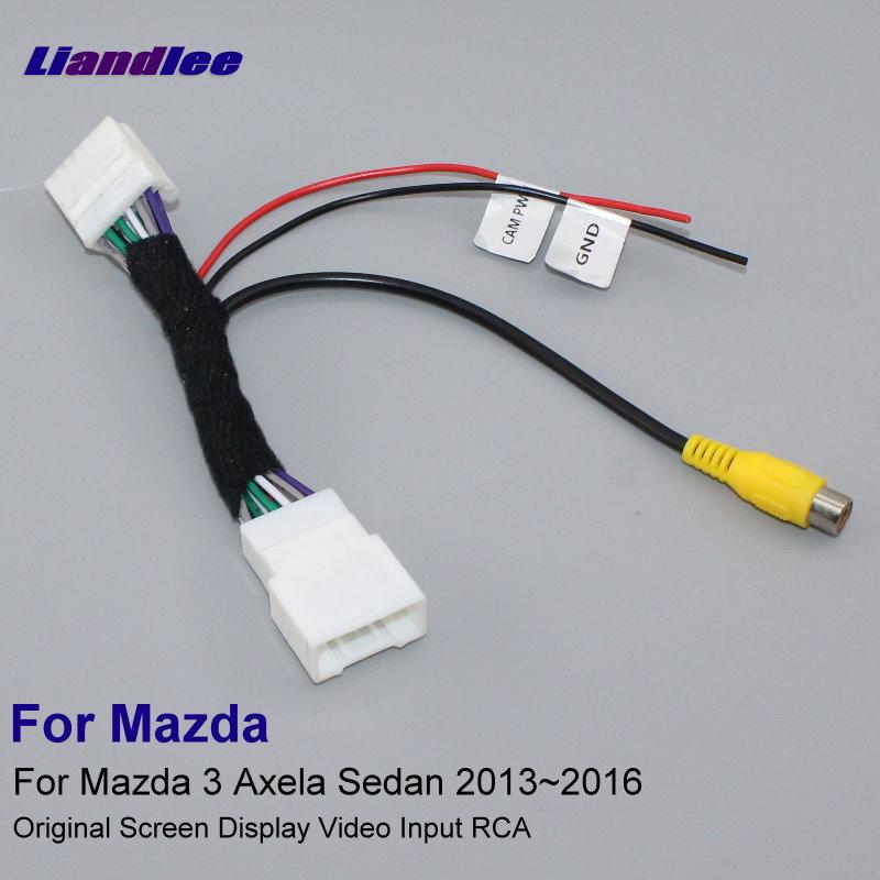 Liandlee For Mazda 3 Mazda3 Axela Sedan 2013~2016 12 Pins RCA Adapter Connector Wire Cable Rear View Camera Original Video Input