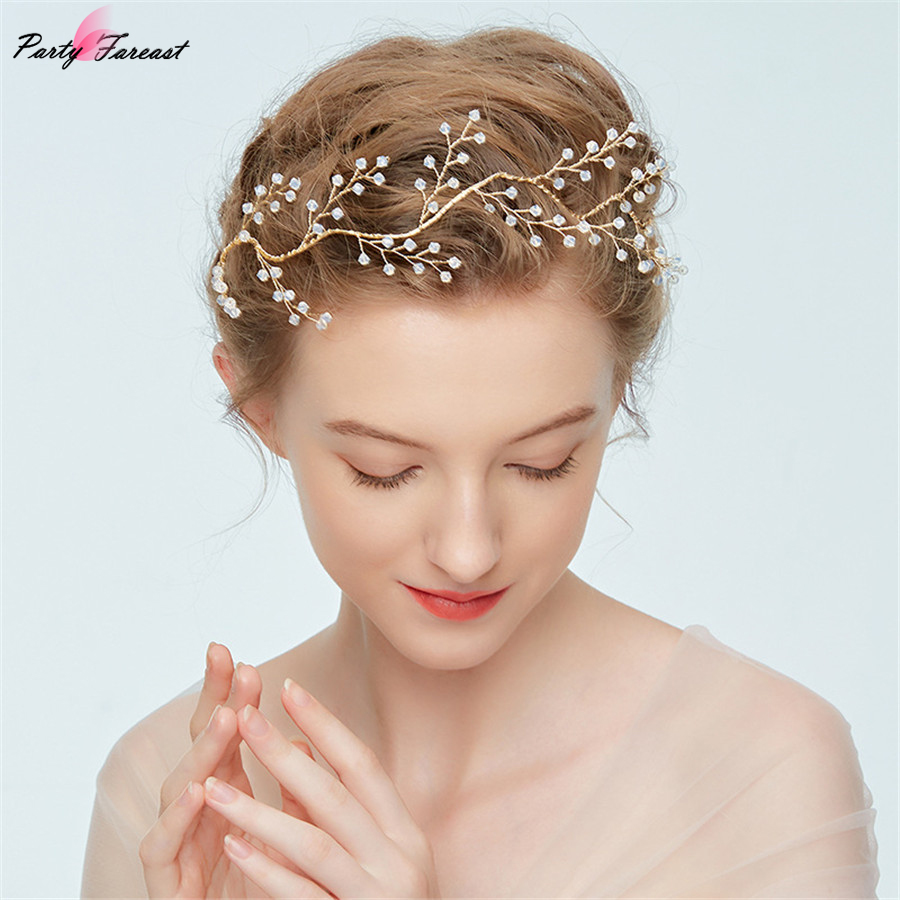 Wedding Hair Accessories Bridal Gold Vine Clips Crystal Pearl Flower HairPin Crown Women Fashion Jewelry Hair Pins