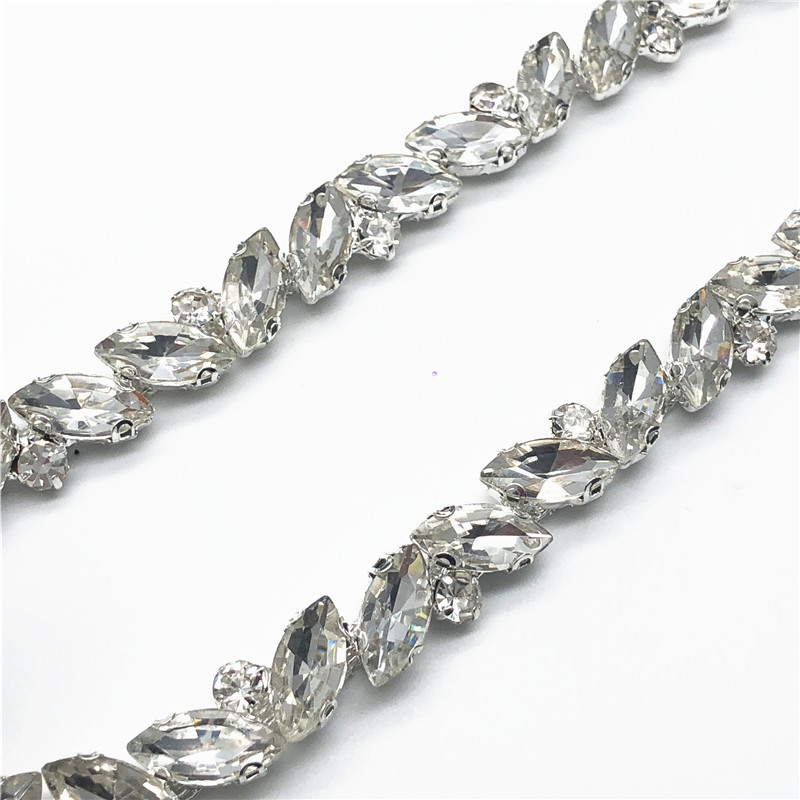a20c55908c 🛒 5 Yards/lot Crystal Chain Silver Claws Rhinestone Trim for ...