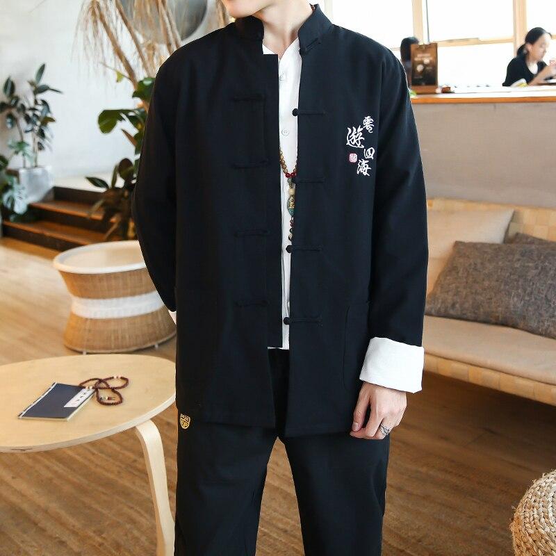 Automne hiver national Tang costume hommes ensembles Hanfu hommes tunique style chinois veste + pantalon costumes lay vêtements jeunes hommes