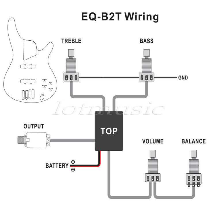 2pcs 3 band active guitar eq preamp circuit tone-volume pots equalizer wiring  harness