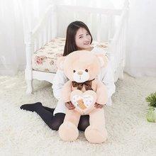 lovelyplush bow teddy bear toy high quality yellow bear doll hold a heart about 80cm