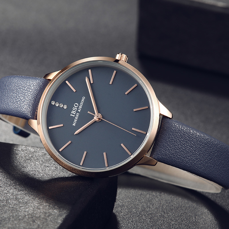 IBSO New Fashion Ultra-Thin Women Watches 2018 Blue Leather