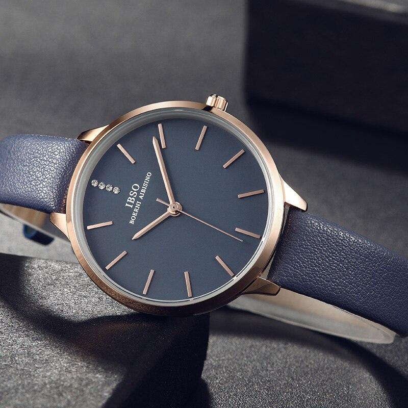 IBSO Nova Moda Ultra-Fino Mulheres Relógios Pulseira De Couro Strass Relógio de Quartzo Mulheres Luxo azul reloj mujer Montre Femme