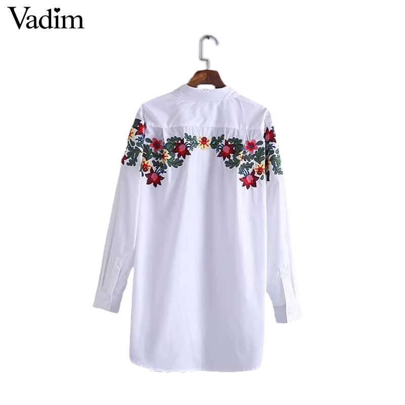 Женская белая длинная блузка из чистого хлопка с цветочной вышивкой, свободная рубашка с длинным рукавом, офисная одежда, повседневные топы, блузы LT1411