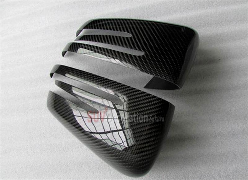 For Benz ML W166 /GL X166 2012 - 2015 Exterior True Carbon Door Wing Mirror Glass Cover Trim 2pcs new for audi q3 8u 2012 2015 true carbon inner door armrest stripe lid trim 4pcs