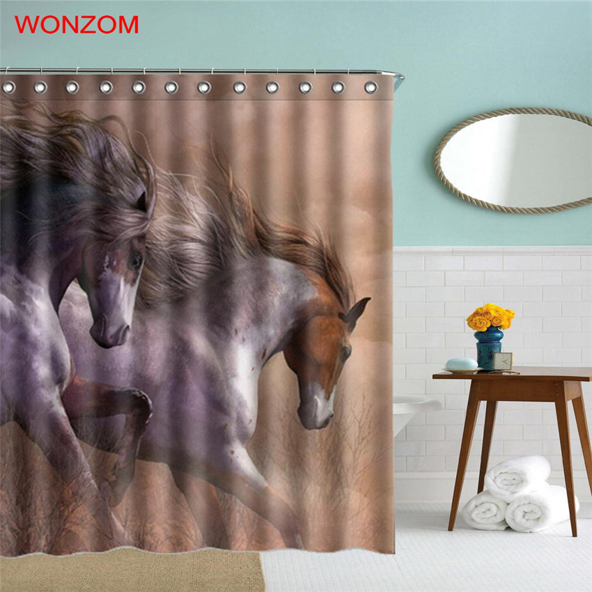 Aliexpress.com : Buy WONZOM Lion Polyester Fabric Shower Curtain Dog  Bathroom Decor Shark Waterproof Animal Cortina De Bano With 12 Hooks Gift  2017 From ...