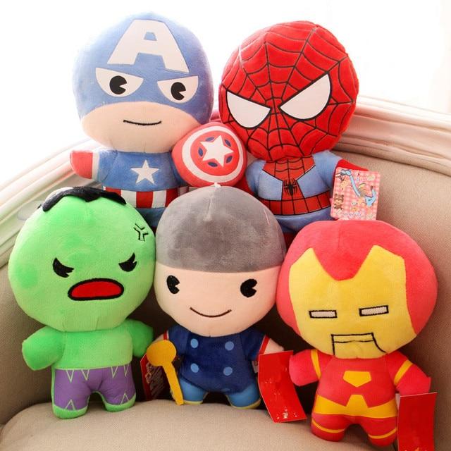 5 pçs/lote Plush brinquedos de super-heróis Vingadores Homem De Ferro Hulk Thor Capitão América Superman Batman Super Heroes Figuras de Ação Brinquedos infantis