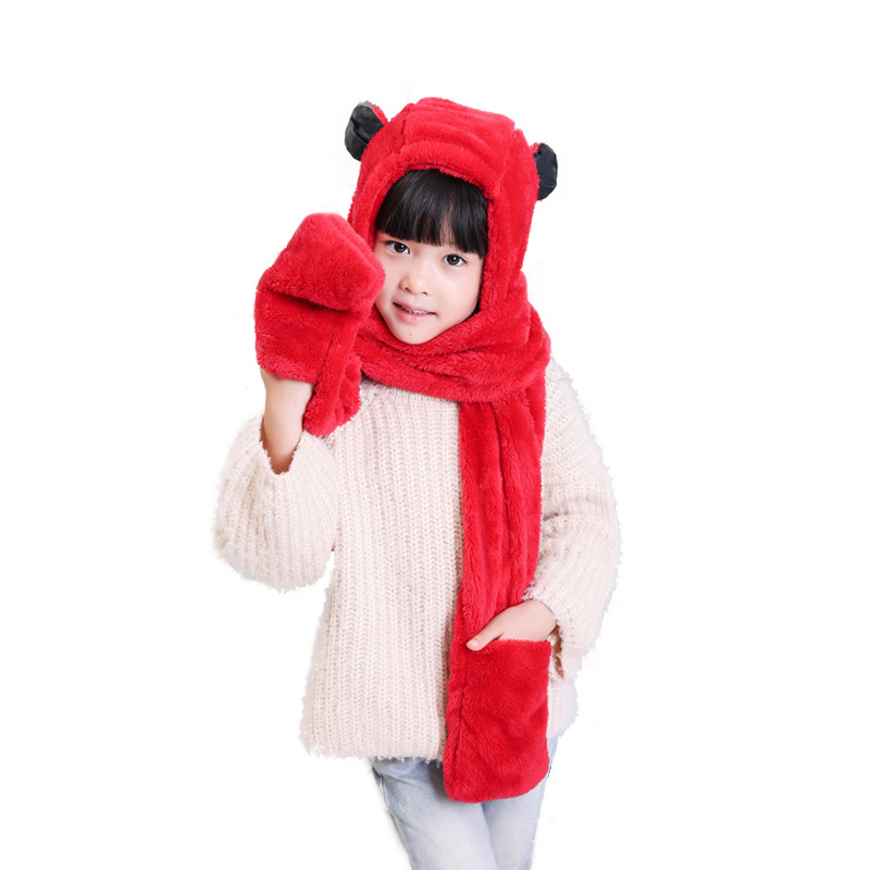 Winter Accessories Boys And Girls Keep Warm Children Scarves Hats Gloves Three-piece Suits Scarves Velvet Winter Sets