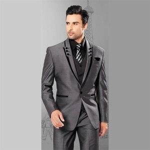 Image 4 - Linyixun 2020 новые твидовые мужские костюмы клетчатый Терно Свадебный костюм жениха смокинги на заказ шерстяные костюмы на заказ (пиджак + брюки + жилет)