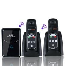 2,4G Цифровая беспроводная система внутренней связи беспроводной цифровой голосовой домофон дверной звонок с 2 внутренним блоком