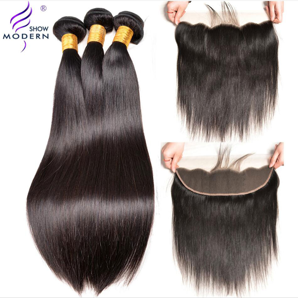 Malaysian Straight Hair Bundles with Closure 3 Bundles Human Hair Modern Show Pre Plucked Lace Frontal With Bundles Non Remy