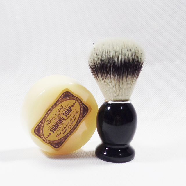 2pc/set Wooden Handle Badger Shaving Brush with Soap for Men's Beard Shave