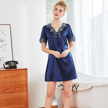 Daeyard Silk Nightgown For Women Embroidery Short Sleeve Summer Dress Sexy Mini Night Sleepwear Casual Home Clothes Nighty