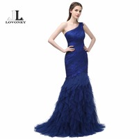 LOVONEY 2017 New Design Elegant Mermaid Evening Gowns One Shoulder Sweep Train Long Evening Dress Formal