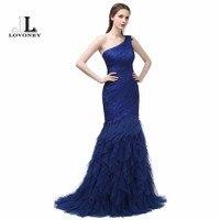 LOVONEY 2017 New Design Elegant Mermaid Evening Gowns One Shoulder Sweep Train Long Evening Dress Formal