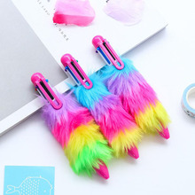 Creative Ballpoint Pen Cute Faux Plush Six-Color Plastic Color Gorgeous Multi-Color Writing Office Supplies