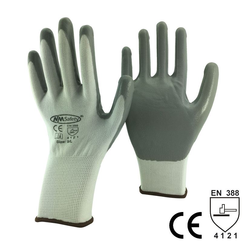NMSafety Industry Glove With 13 Gauge Seamless Knit Nylon Nitrile Coated Work Gloves