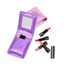 New PU Sequined Laser Cosmetic Bag Fashion Mini Embroidered Women Lipstick Portable Makeup Mirror Organizer