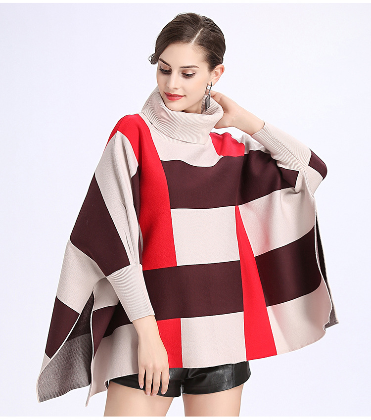 Europe US Fashion Women High Collar Plaid Batwing Sleeve
