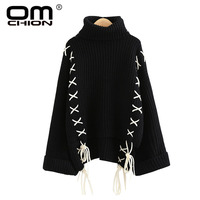 OMCHION Pull Femme 2018 Winter Turtleneck Flare Sleeve Sweater Women Casual Oversized Lace Up Pullover Korean Jumper LMM131