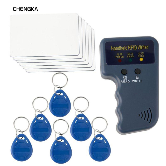 125KHz RFID Readers/Writer/Copier/Duplicator Handheld ID Card Writer + 6pcs Writable ID Cards and 6pcs ID Tags