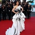 Aishwarya Rai Cannes Film High Low Branco e Preto Moda Vestidos de Celebridades Formal Vestidos de Noite Vestido de renda