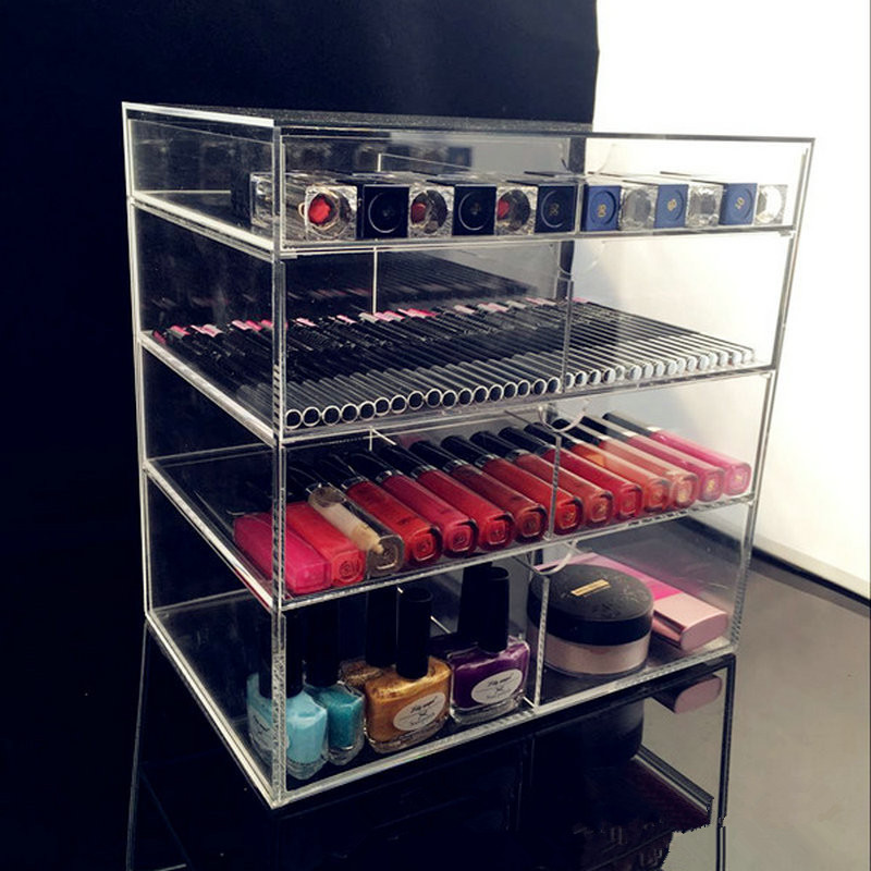 5 PCS Anti-Scratch Effacer Acrylique Cosmétique Bijoux Maquillage Organisateur Box Case 4 De Stockage Tiroir Cas Titulaire Maquillage Storager Boîtes