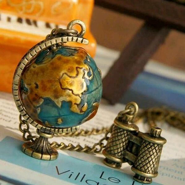 FAMSHIN 2018 New Fashion Vintage Jewelry Globe Telescope Alloy long Pendant & Ne