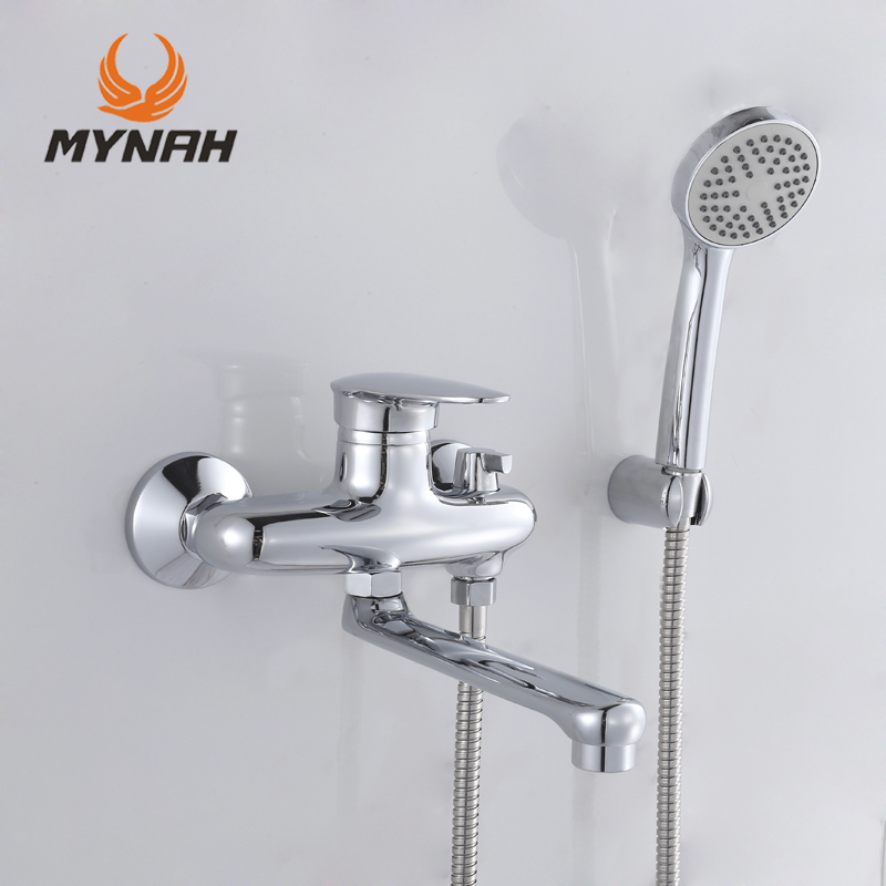 MYNAH Russia free shipping Bathroom Shower Faucet Bath Faucet Mixer Tap With Hand Shower Head Set Wall Mounted Brand MYNAH сковорода appetite grey stone с антипригарным покрытием диаметр 28 см