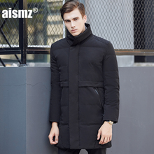 Aismz Mens Down Coats Polyester Winter Jackets Thick Casual Outerwear Windproof Handsome Warm Regular Parkas Coats 1712