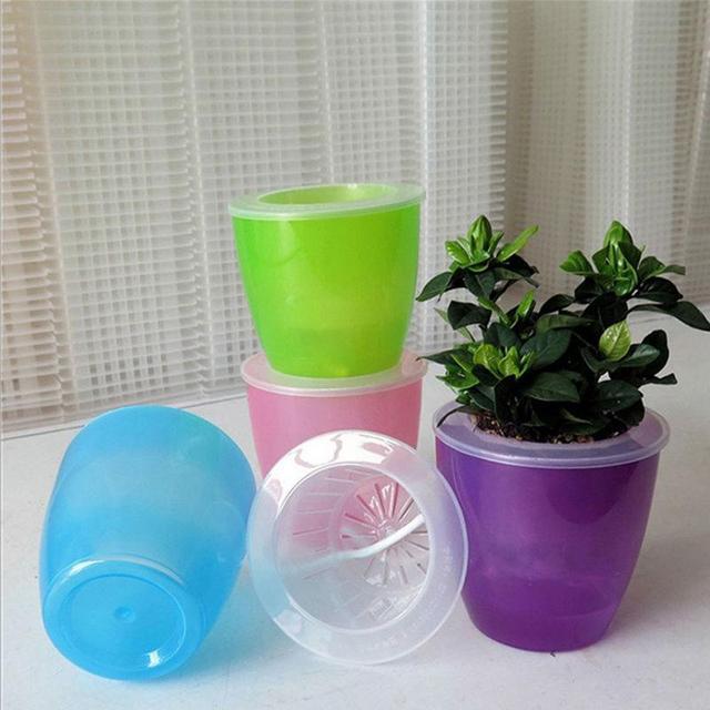 Wholesale Price ABS Transparent Double Layers Plant Flower Planter Pot Home Garden Desk Decor Self Watering Planter Flower Pot
