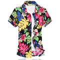 2016 New Fashion Mens Flower Shirt Summer Short Sleeve Slim Fit Shirt Men High Quality Mens Floral Shirt Men Plus Size 6XL