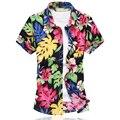 2016 Nova Moda Dos Homens Camisa Da Flor do Verão de Manga Curta Slim Fit Shirt Dos Homens de Alta Qualidade Mens Camisa Floral Dos Homens Plus Size 6XL