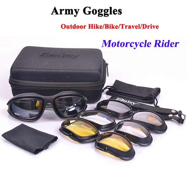 cf7e06ec23 Daisy C5 Polarized Army Goggles Desert Storm 4 Lens Outdoor Sports Hunting Military  Sunglasses UV Protective