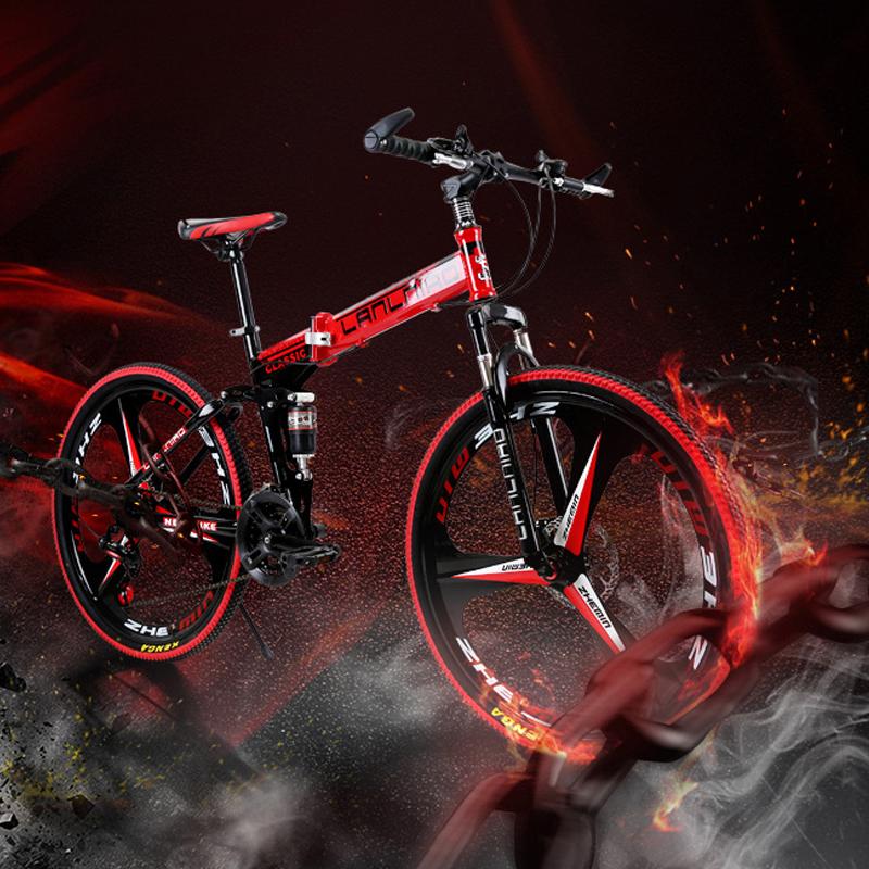 dcd573e3cf0 26inch folding mountain bike 21 speed double damping 6 knife wheel and 3  knife wheel bicycle double disc brakes mountain bike. 24 ...