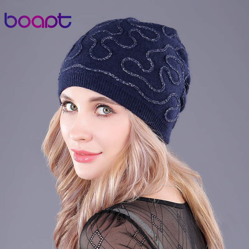 boapt genuine wool folds knitting hats for women beanie double deck thick winter female caps