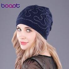 [boapt] подлинный шерсть складки вязание головные уборы для женщин шапочка двухъярусный толстый зима шапка женский пол колпачки тепло головные уборы шляпа для девочек шляпа черепа черепах кепка